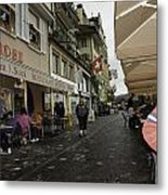Seated In The Cafe Along The River In Lucerne In Switzerland Metal Print