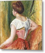 Seated Young Woman Metal Print by Pierre Auguste Renoir