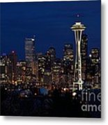 Seattle In The Evening Metal Print by Alan Clifford