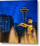 Seattle Rain Boy Metal Print