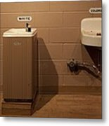 Segregated Water Fountains On Display Metal Print by Everett