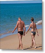 Senior Elderly  Lover Couple Metal Print