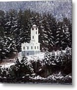 Sentinel Island Lighthouse In The Snow Metal Print