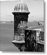 Sentry Tower Castillo San Felipe Del Morro Fortress San Juan Puerto Rico Black And White Metal Print by Shawn O'Brien