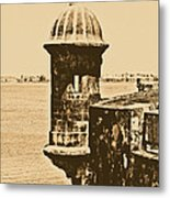 Sentry Tower Castillo San Felipe Del Morro Fortress San Juan Puerto Rico Rustic Metal Print by Shawn O'Brien