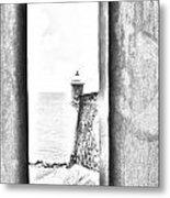 Sentry Tower View Castillo San Felipe Del Morro San Juan Puerto Rico Black And White Line Art Metal Print