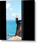 Sentry Tower View Castillo San Felipe Del Morro San Juan Puerto Rico Ink Outlines Metal Print