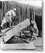 Seoul Korea - Men Sawing Lumber Metal Print
