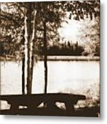 Sepia Picnic Table Metal Print