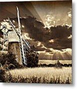 Sepia Sky Windmill Metal Print