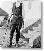 Serbian Man Wearing Hat, Vest, Belted Metal Print by Everett
