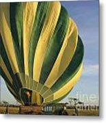 Serengeti Hot Air Baloon Inflating Metal Print