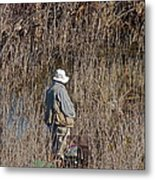 Serious Fisherman Metal Print