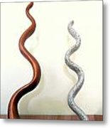 Serpants Duo Pair Of Abstract Snake Like Sculptures In Brown And Spotted White Dancing Upwards Metal Print