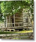 Settlers Cabin And Crosstie Fence 4 Metal Print