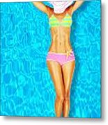 Sexy Woman Body In The Pool  Metal Print by Anna Om