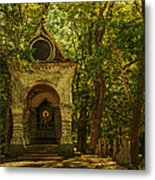 Shaded Chapel. Golden Green Series Metal Print