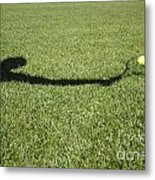 Shadow Playing Tennis Metal Print