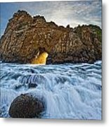 Shaft Of Sunlight Through Hole In Rock Metal Print by Robert Postma