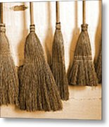 Shaker Brooms On A Wall Metal Print