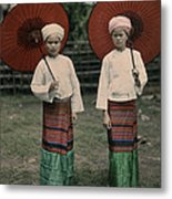 Shan Women Wearing Traditional Colorful Metal Print