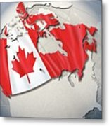 Shape And Ensign Of Canada On A Globe Metal Print by Dieter Spannknebel