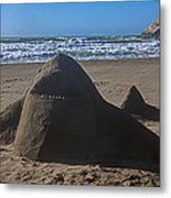 Shark Sand Sculpture Metal Print