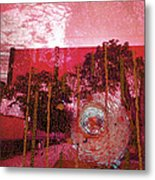 Abstract Shattered Glass Red Metal Print