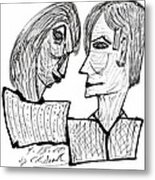 She And He Pen And Ink 2000 Metal Print