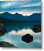Sheep Clouds Above  A Lake  Metal Print