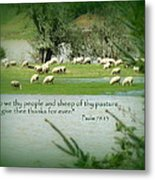 Sheep Grazing Scripture Metal Print