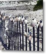 Shell-decorated Fence Metal Print