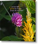 Shine Encouraging Pink And Yellow Flower Photograph Metal Print