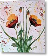 Shining Red Poppies Watercolor Painting Metal Print