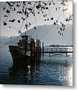 Ship In Backlight Metal Print