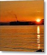 Ship Meets Sunrise Metal Print