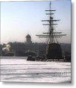 Ship On Neva River Metal Print
