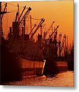 Shipping Freighters At Sunset Metal Print