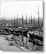 Ships In Harbour 1900 Metal Print