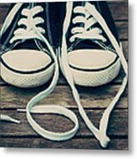 Shoes With Laces Metal Print