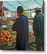 Shopping At The Farmers Market Metal Print
