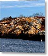 Rockport Shore Rocks - Greeting Card Metal Print