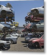 Shot Of Junkyard Cars Metal Print