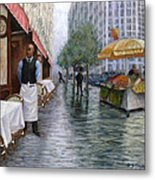 Shower On Sixth  Avenue Metal Print by Victor Zucconi