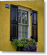 Shutters And Window Boxes Metal Print