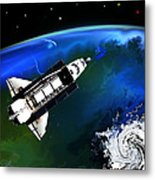 Shuttle On Orbit Metal Print