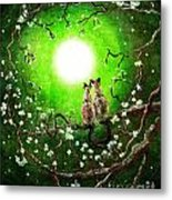 Siamese Cats In Spring Moonlight Metal Print