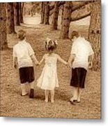 Siblings Taking A Walk Metal Print
