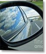 Side-view Mirror Reflecting Clouds Metal Print