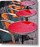 Sidewalk Cafe In Paris Metal Print